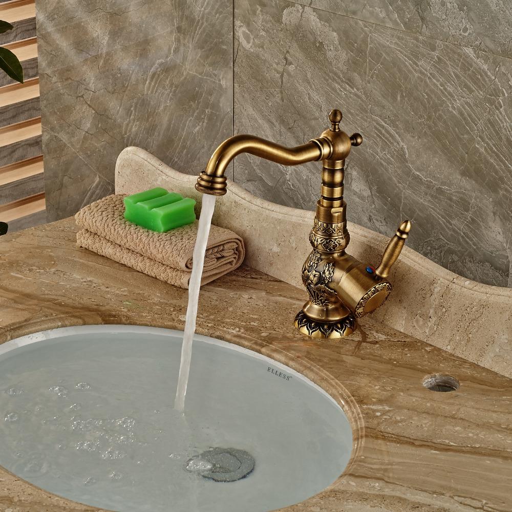 Loraine Deck Mount Antique Brass Faucet