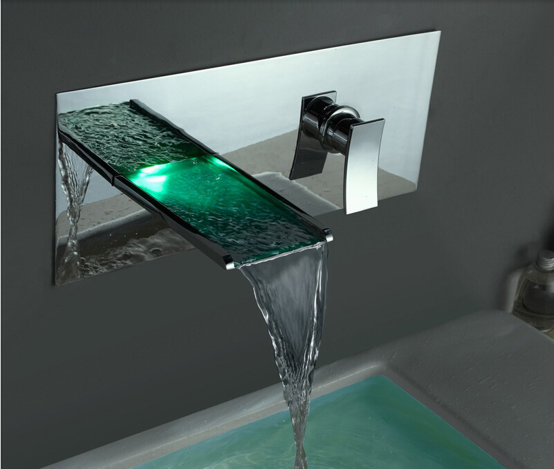 Led Contemporary Wall Mounted Waterfall Bathroom Sink Faucet Ebay