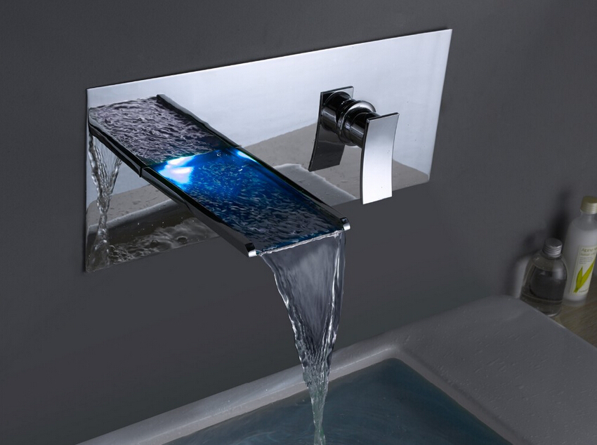 Wall Mounted LED Waterfall Bathroom Sink Faucet