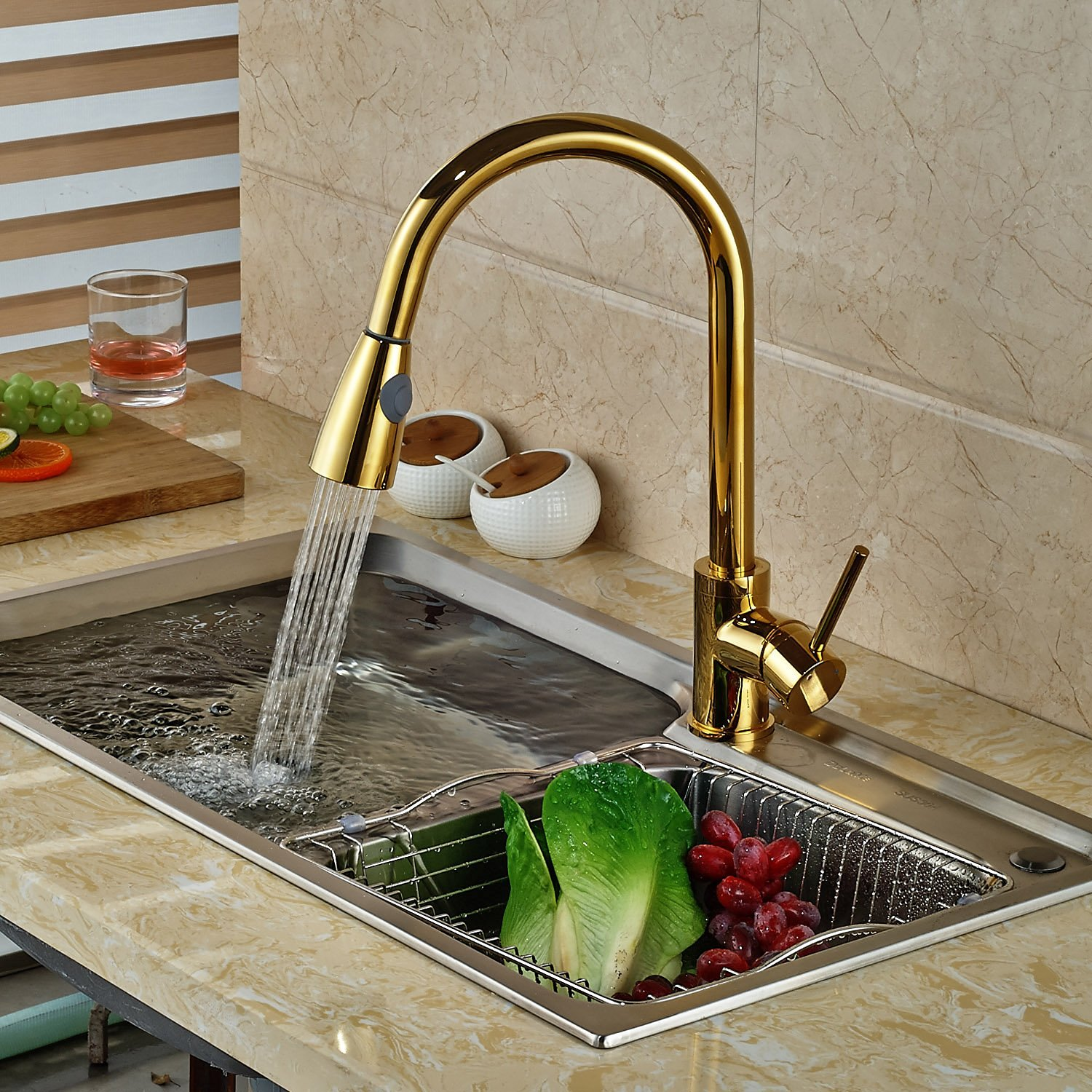 Deck Mounted Gold Finish Kitchen Sink Faucet