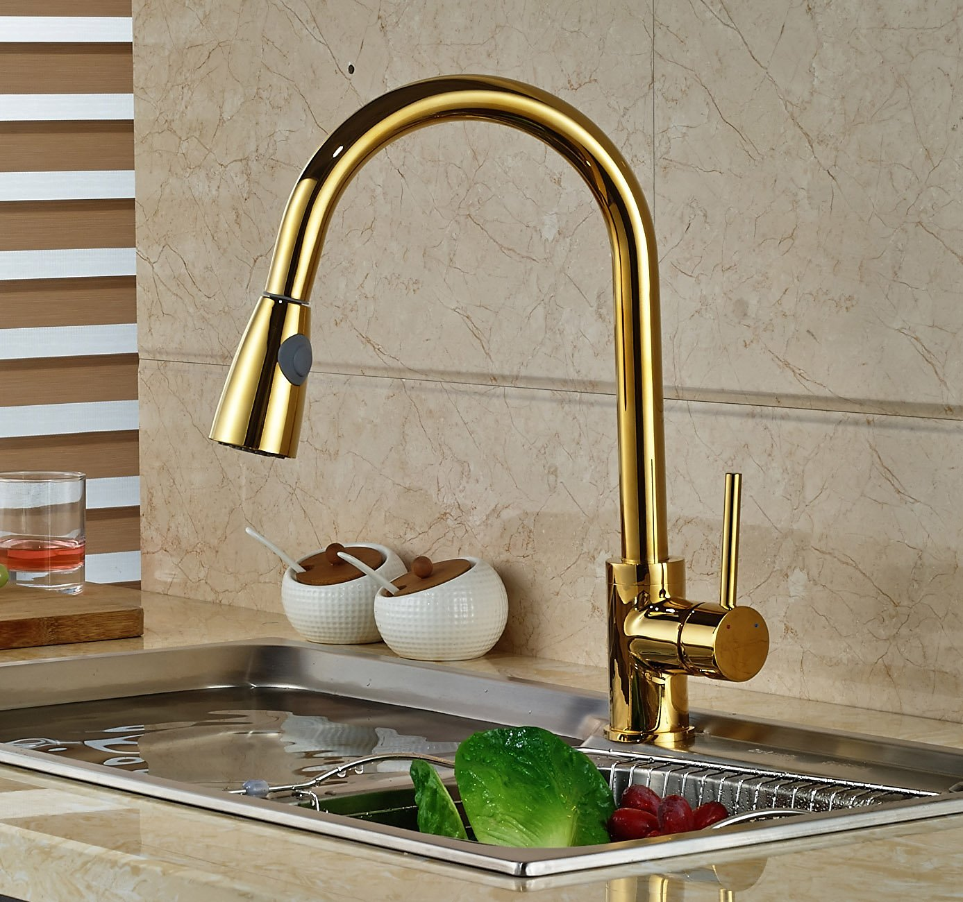 manaus deck mounted gold finish kitchen sink faucet - Gold Kitchen Faucet