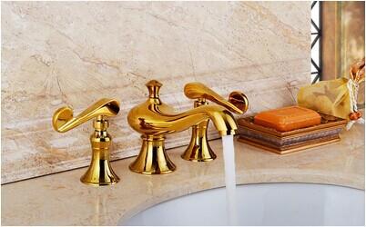 Massa Gold Deck Mounted Brass Bathroom Faucet