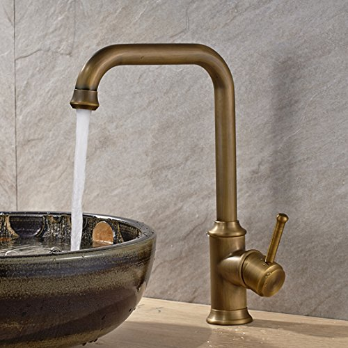Antique Brass Single Handle Bathroom Sink Faucet