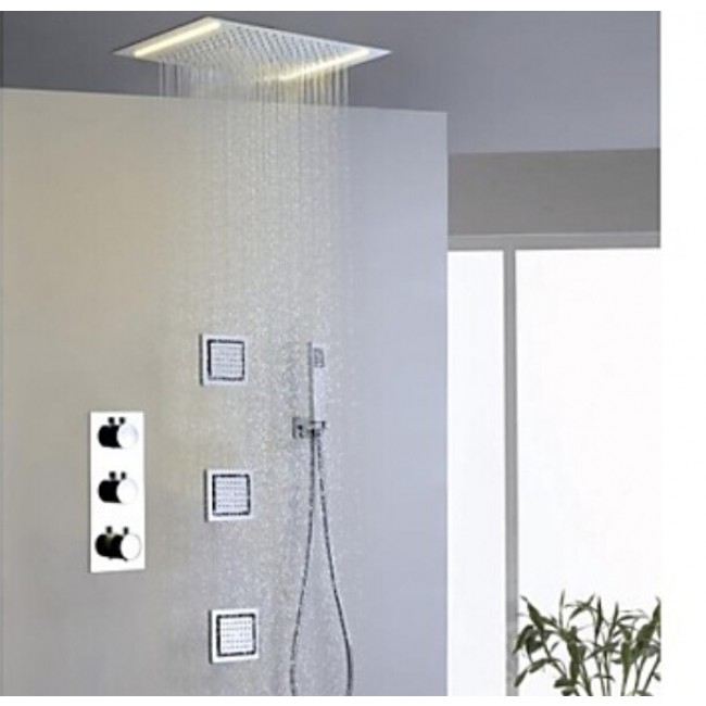 """Montecelio 14"""" * 20"""" LED Shower Head along with Hand Held Shower & Body Massage Jets"""