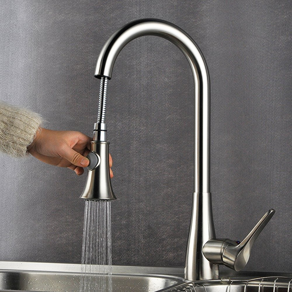 down kitchen steel faucet indira stainless l rona en pull