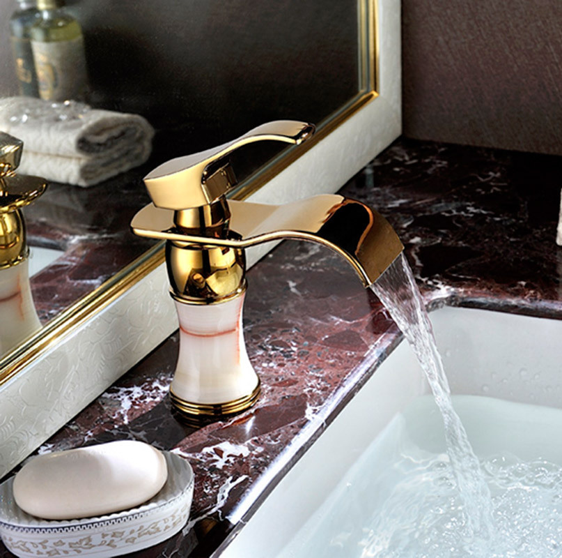 Nora Gold Antique Bronze Bowlder Waterfall Sink Faucet