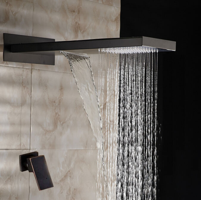 Fiego Oil Rubbed Bronze Rainfall Shower Set