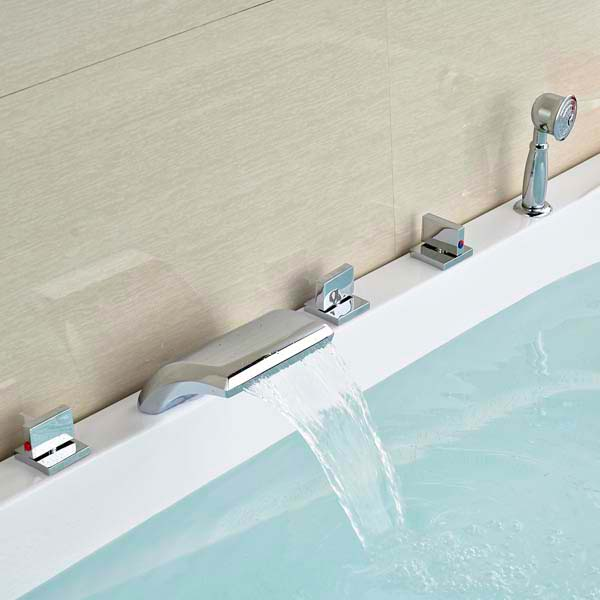 Parma Chrome Brass Waterfall Bathtub Faucet with Hand Shower