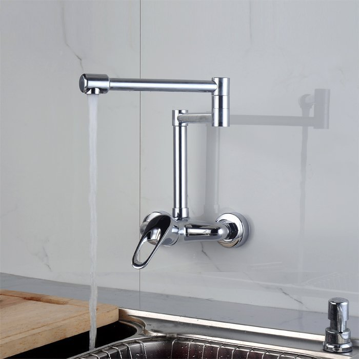 Parma Rotatable Wall Mounted Chrome Finish Pot Filler Kitchen Faucet