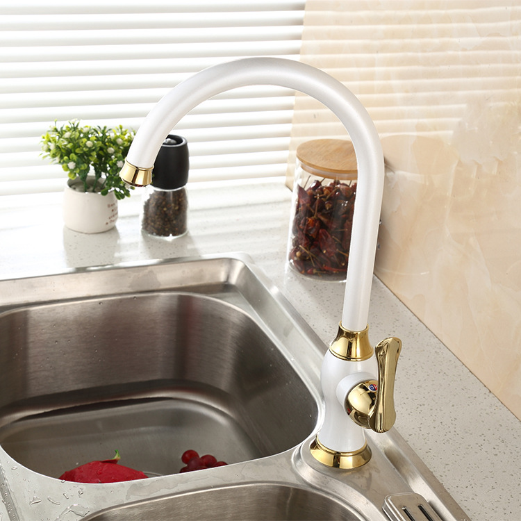 Pozzuoli European Styled White Deck Mounted Kitchen Faucet