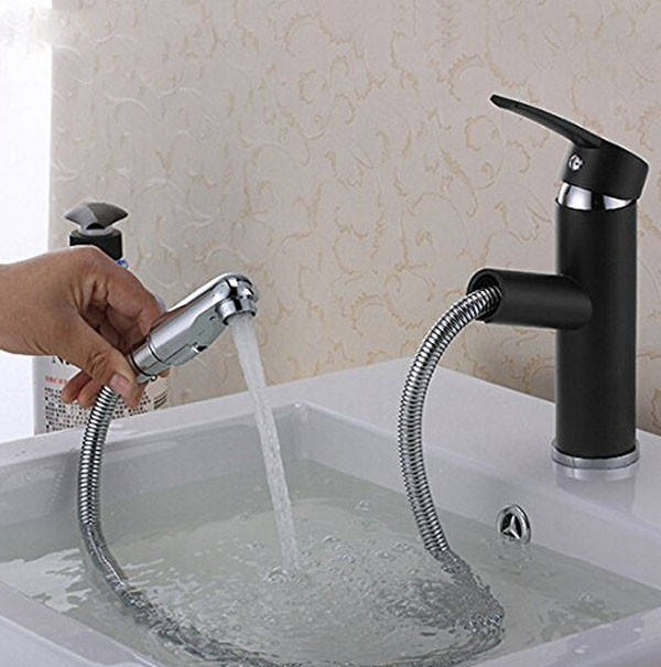 Pull Out Oil Rubbed Bronze Bathroom Sink Faucet