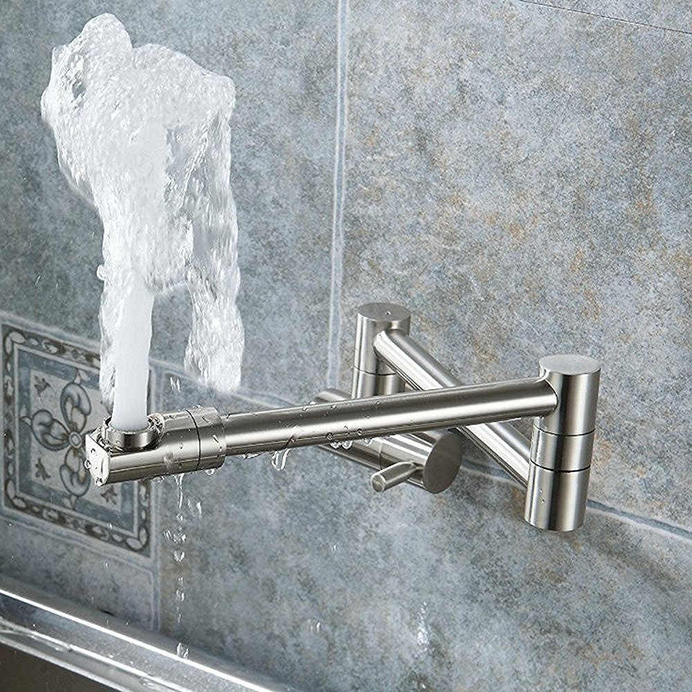 Puriscal Double Joint Wall Mounted Stainless Steel Kitchen Sink Faucet