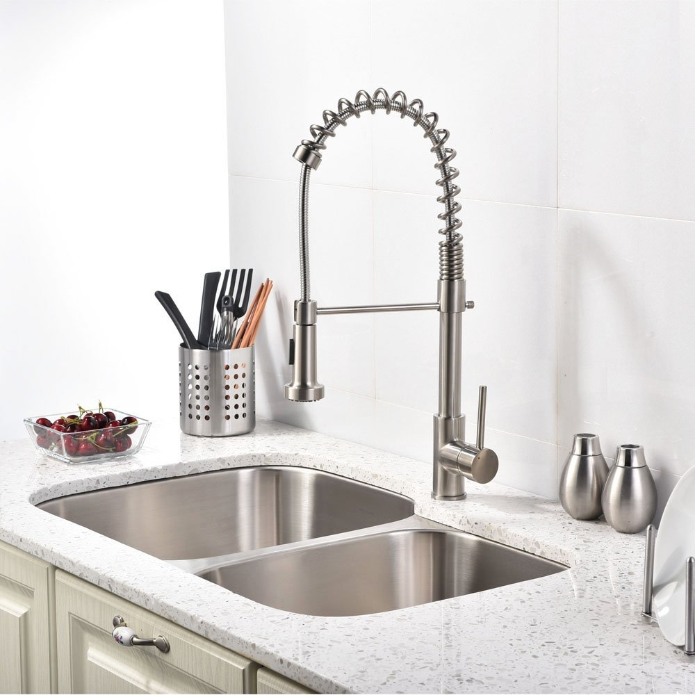 Beau ... Quilmes Brushed Nickel Kitchen Sink Faucet With Pull Down Sprayer ...