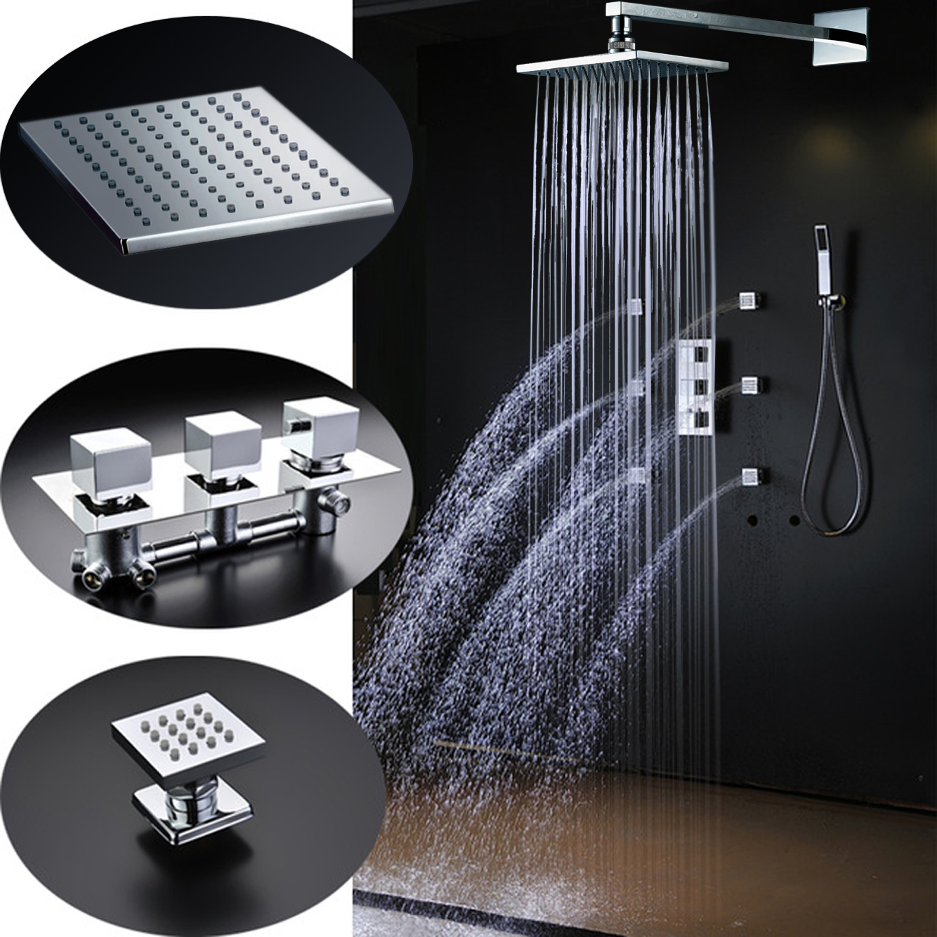 Fontana Lombardy Chrome Large Square Shower Head With Massage Jets
