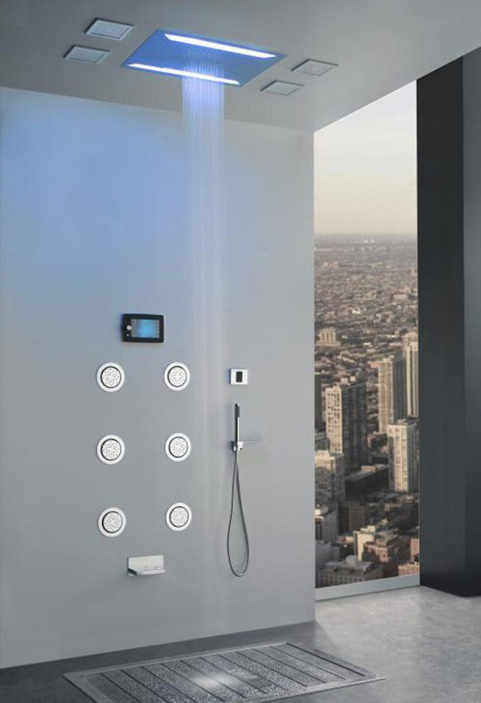 Super Luxury Recessed LED Large Waterfall Rainfall Shower System with 6 Body Jets Hand Shower