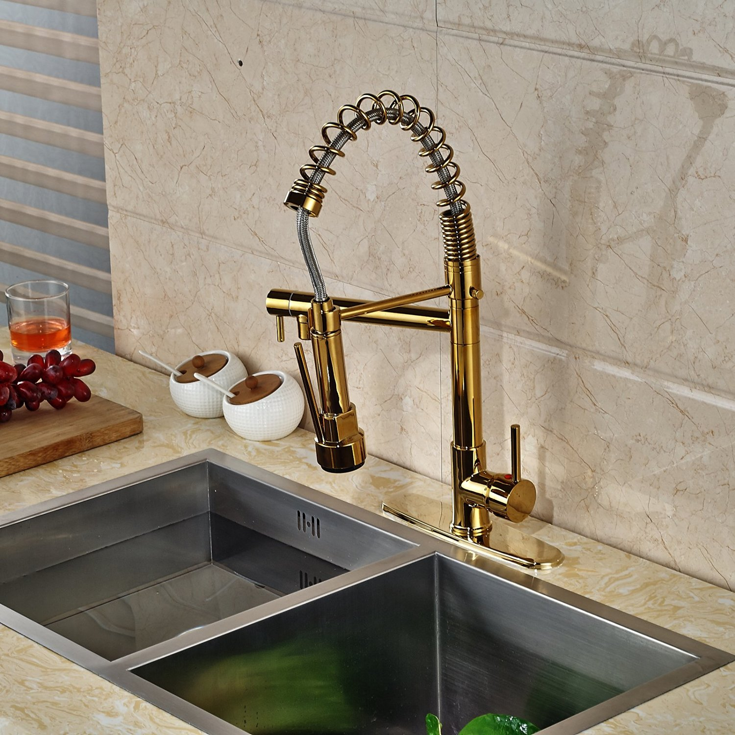 venezuela gold finish kitchen sink faucet with pull down