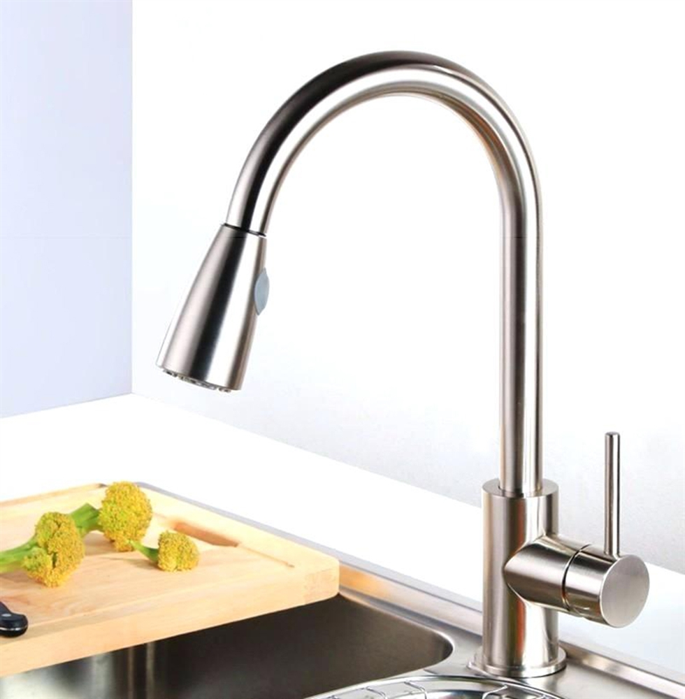 Venice Brushed Nickel Single Handle Kitchen Sink Faucet With Pull