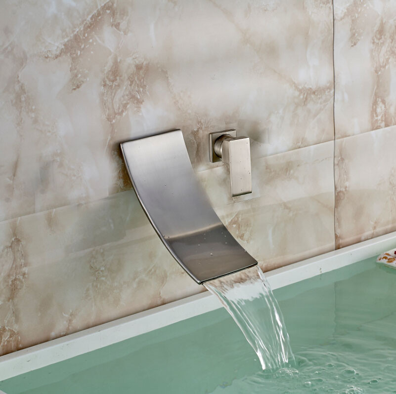 Bilbao Wall Mounted Brushed Nickel Single Handle Waterfall Spout ...