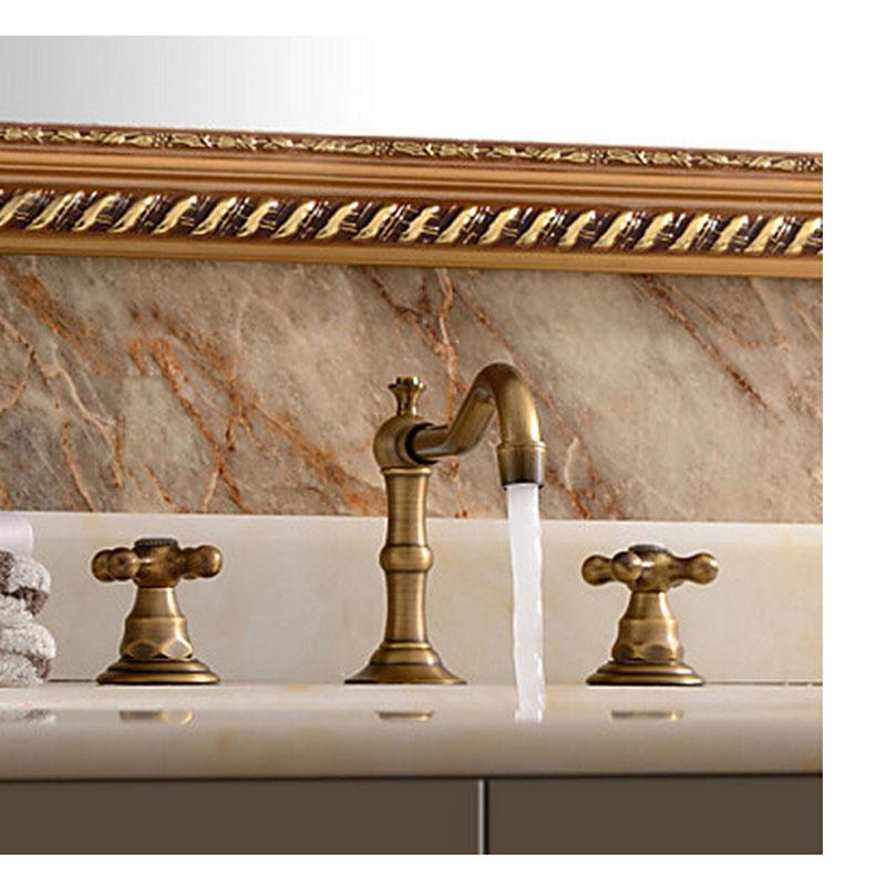 "Modena Widespread 8"" Antique Brass Bathroom Sink Faucet Dual Handle Mixer Faucet"