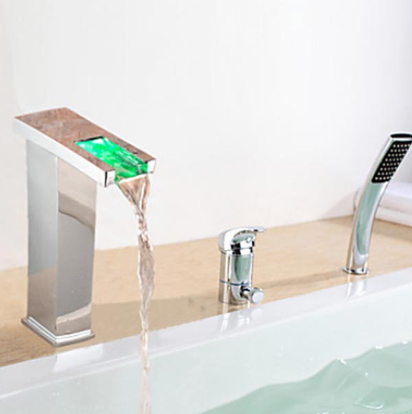 Contemporary LED Chrome Finish Bathroom Waterfall Bath-Tub Faucet ...