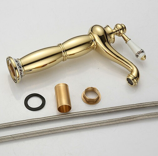 bathroom-faucet-gold-finish-cold-hot