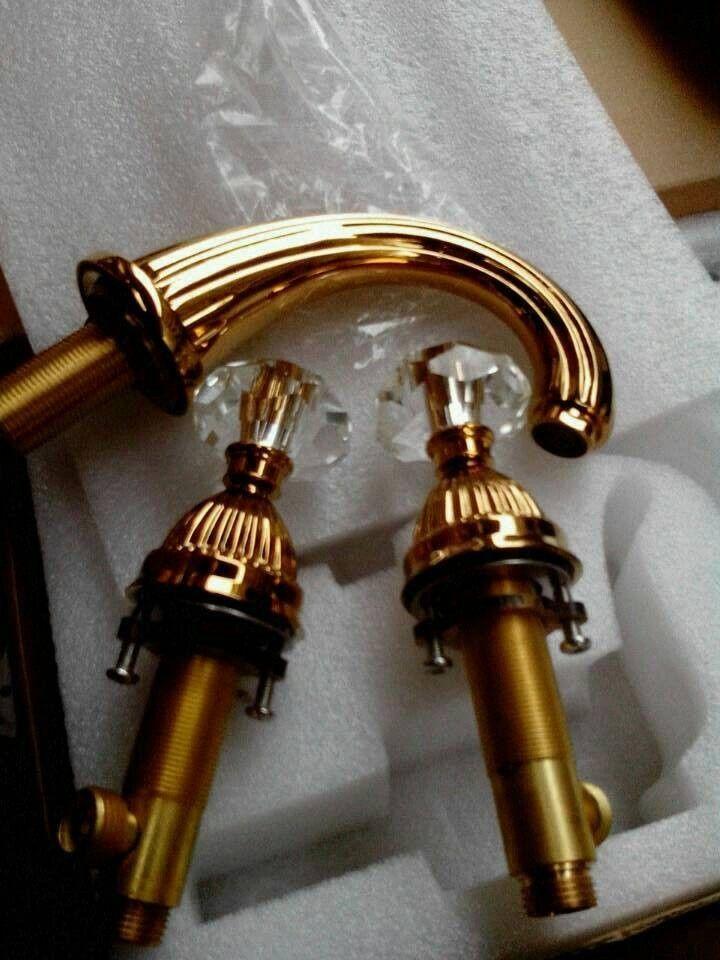 Larissa Widespread Bathroom Lavatory Sink Faucet Crystal