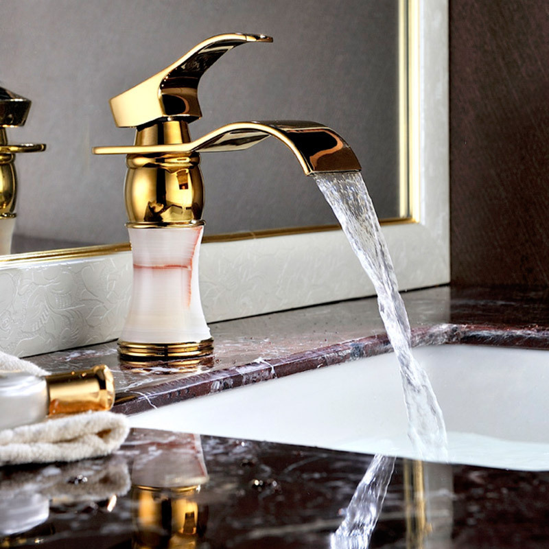Gold-Antique-Bronze-Bowlder-Waterfall-Faucet