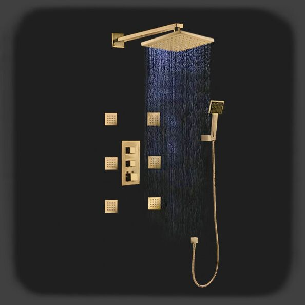 gold rain shower head. Fontana Versilia Gold Finish solid brass color changing LED rain shower head  with mixer and adjustable body jets Color Changing Led Shower Head