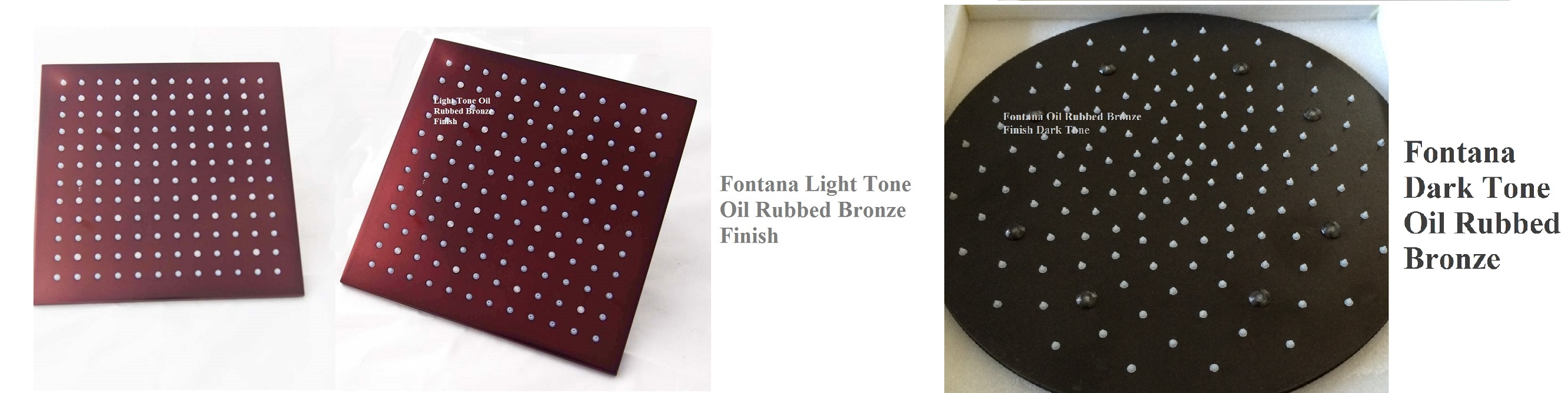 "Fontana Rivera 12"" & 16"" Light/Dark Oil Rubbed Bronze LED Rain Shower Head - Shower Head Size 12"", 16"""