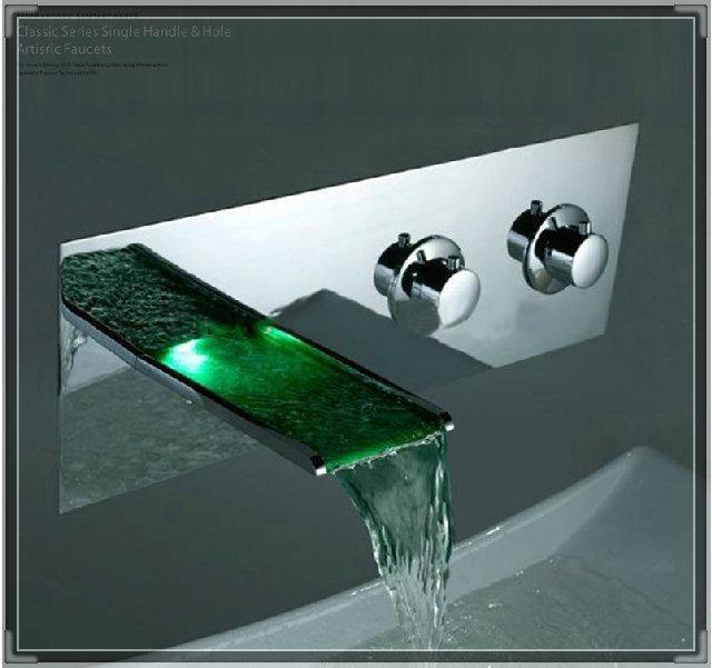 Rivera Wall Mount 3-pc LED Faucet Set No Batteries RGB LED Color ...