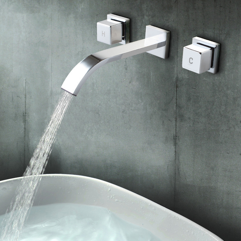 Polished Chrome Wall Faucet Bathroom Basin Faucet Wall Mounted ...