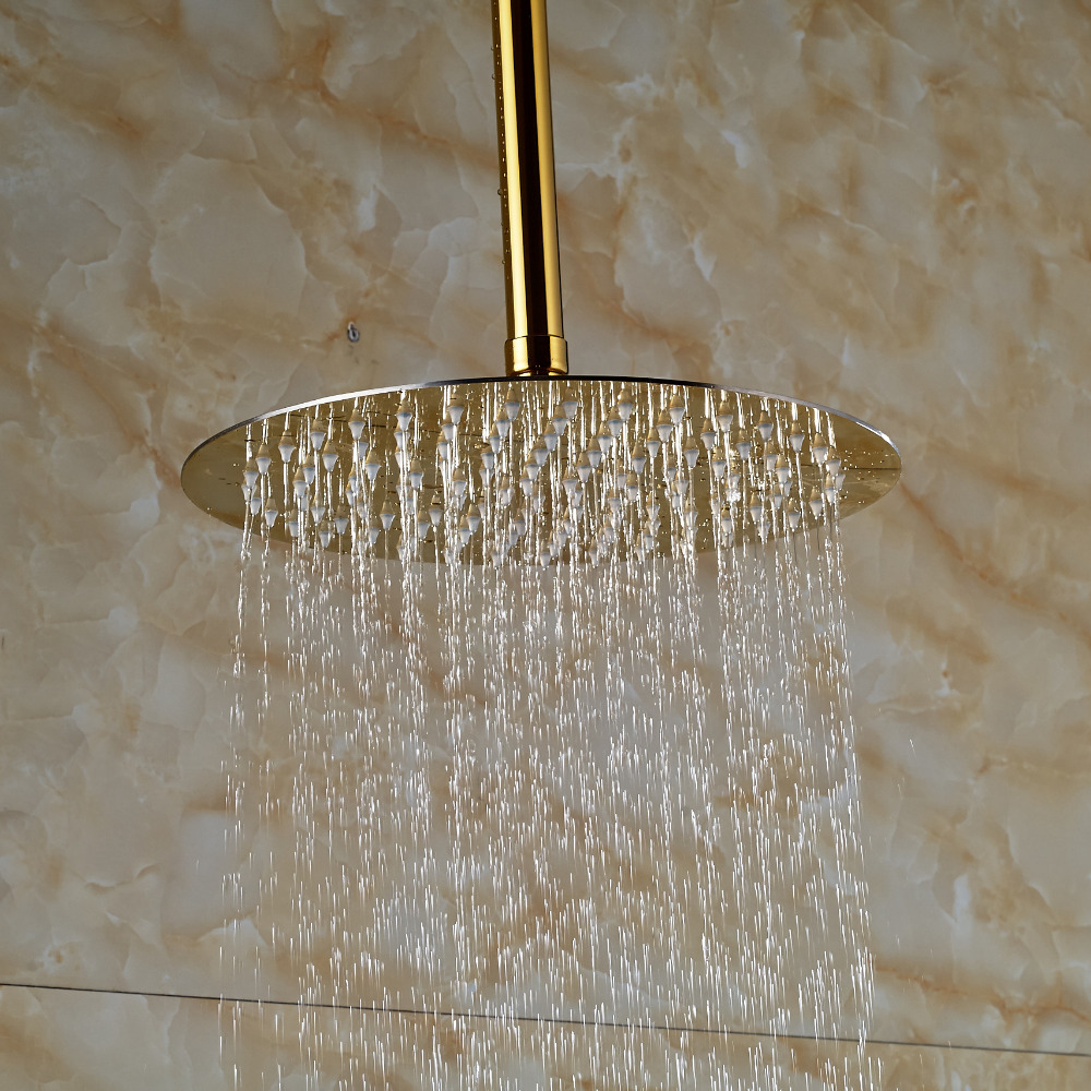 gold rain shower head. polished golden finish 10inch round rain head  Fontana Polished Gold Finish 10 Round Rain Shower Head Ceiling