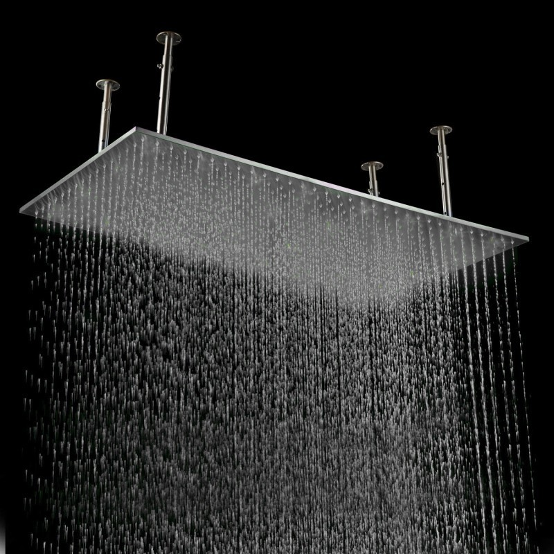 recessed rain shower head. rectangular brushed ceiling big rain shower  Ceiling Mount Stainless Steel LED Rain Shower Head