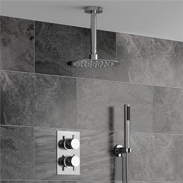Fontana Sierra Series Round Ceiling Mount Ultra thin Bathroom Shower ...