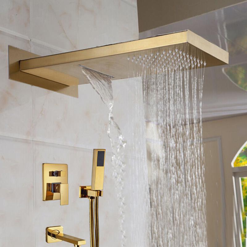Designer Gold Finish Wall Mount Shower Set with Handheld Shower Head ...