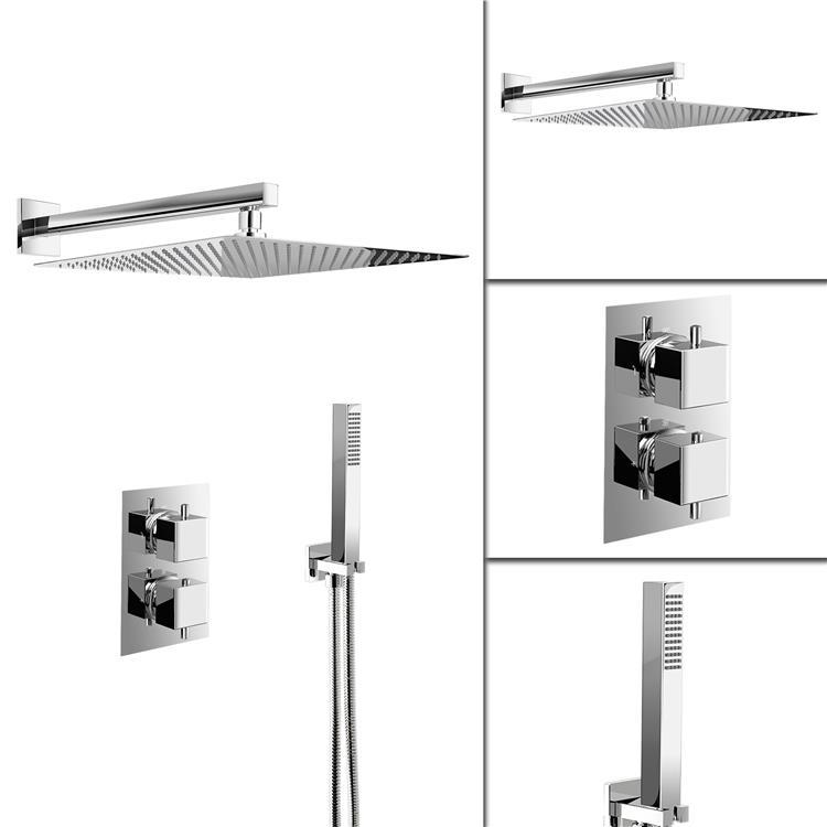 Ultra Thin Square Rain Shower Head Thermostatic ...