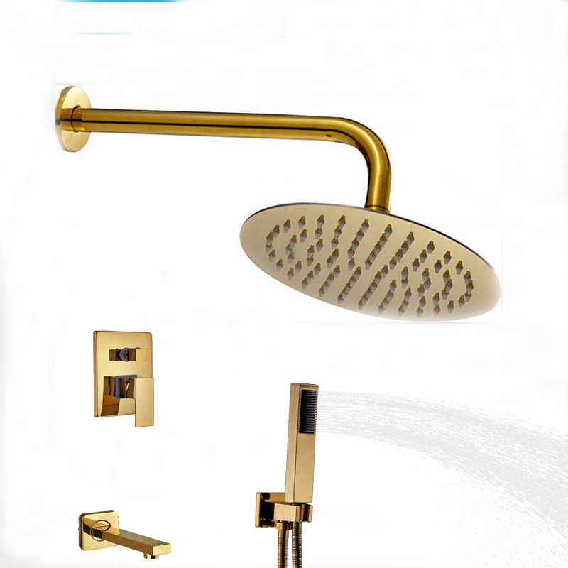 gold rain shower head. wall mounted round rain shower head faucet  Designer Wall Mount Gold Finish Single Lever Round Shower Set with