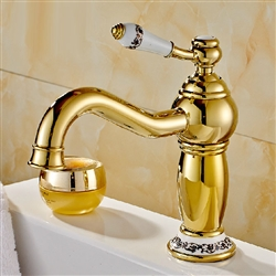 Rio Gold Plated Sink Faucet With Ceramic Accents Single