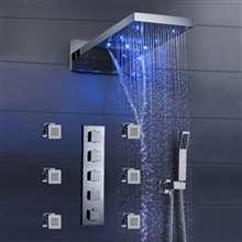 "Fontana Mugla 22"" LED Thermostatic Waterfall Rain Shower Head with Massage Body Sprays and Hand Shower"