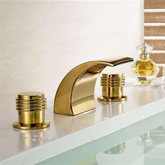 Gold Bathroom Faucet Gold Finish Brass Body Led Bathroom