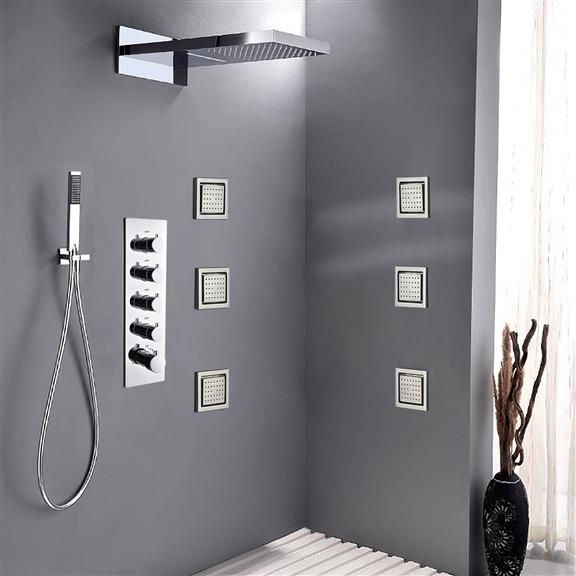 """Fontana Brono 22"""" Shower Set - 6 Massages Body Sprays"""