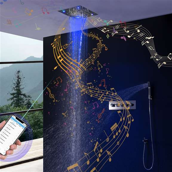 Luxury LED Rainfall Thermostatic Music Shower System 24 X 24 Inch