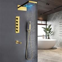 Créteil Gold LED Waterfall Shower Set