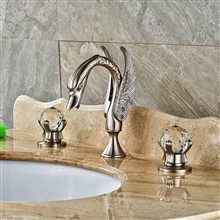 Milan Brushed Nickel Swan Shaped Dual Handle Bathroom Sink Faucet