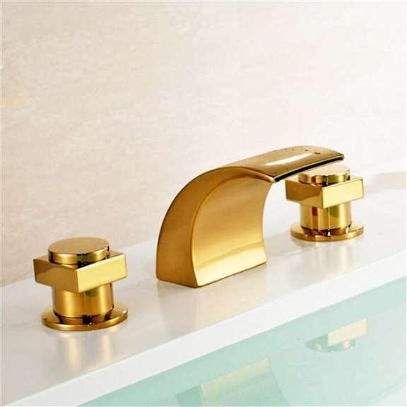 Dual Handle Bathtub Gold Chrome Finish Bathroom Faucet