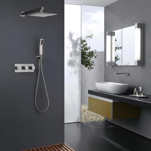 Fontana Sita Platinum LED Shower Head Set with Diverter, Mixer and LED Spout